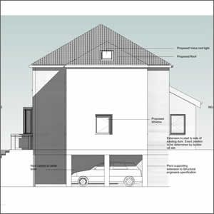 Home Extension - Proposed side elevation